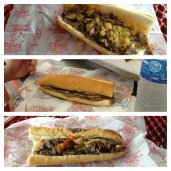 From top to bottom: Pat's (wiz wit), Geno's (wiz wit), Pat's (provolone, pepers, mushrooms)
